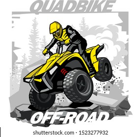 Quad Bike Off-road logo with mountain background
