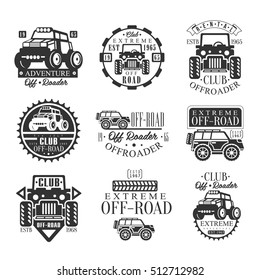 Quad Bike Rental Club Set Of Emblems With Black And White Quadricycle Atv Off-Road Transportation Silhouettes
