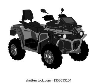 Quad bike vector illustration isolated on white background. Quadricycle, quadbike off road vehicle. ATV road adventure. All terrain vehicle. Outdoor sport activity.