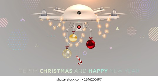 Quad copter drone flying with Christmas decorations. Illustration for technology and innovation business presentations, covers, posters, placards and brochures design. Eps10 vector