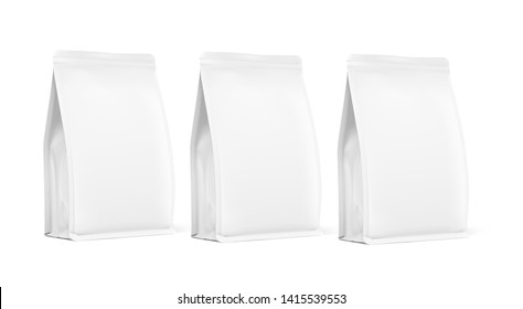 Quad seal bags with vertical gussets. Perspective view. High realistic details. Ready for your design. Suite for the presentation of coffee, food, for pets, household, etc. EPS10.