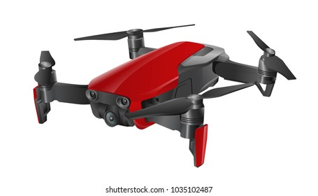 Quadcopter 3d vector illustration,  drone isolated on white, eps 10 vector