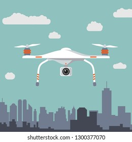 Quadcopter aerial drone with camera for photography or video. Flat design. Vector illustration.