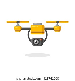 Quadcopter aerial drone with camera for photography or video surveillance. Flat cartoon vector illustration.