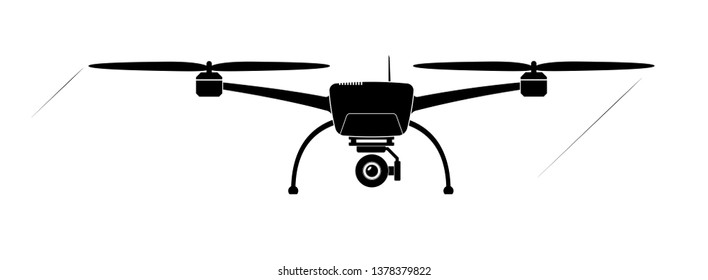 Quadcopter or copter flying in the air. Camera and shooting video or photo from the air