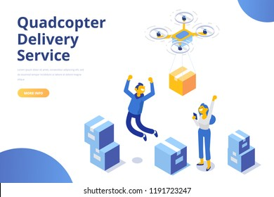 Quadcopter delivery service concept. Happy people. Modern flat design. 3d vector isometric illustration.