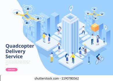 Quadcopter delivery service concept. Modern flat design. 3d vector isometric illustration.