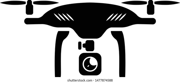 Quadcopter drone with camera icon. Simple sign illustration.
