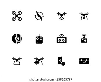 Quadcopter and flying drone icons on white background. Vector illustration.