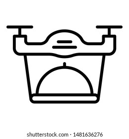 Quadcopter food delivery icon. Outline quadcopter food delivery vector icon for web design isolated on white background