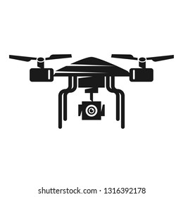 Quadcopter front view icon. Simple illustration of quadcopter front view vector icon for web design isolated on white background