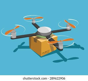 Quadcopter with parcel. New way for delivery.