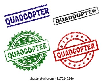 QUADCOPTER seal prints with corroded style. Black, green,red,blue vector rubber prints of QUADCOPTER tag with corroded texture. Rubber seals with round, rectangle, medallion shapes.