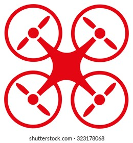 Quadcopter vector icon. Style is flat symbol, red color, rounded angles, white background.