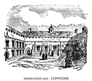 Quadrangle always enclosed on four sides by buildings it is entirely or mainly occupied by parts of a large building which is covered arcades or cloisters vintage