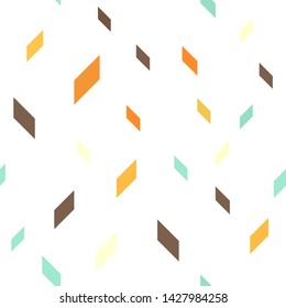 Quadrangle pattern. Seamless vector background - beige, brown, orange, yellow, green polygons on white backdrop