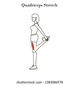 Quadriceps stretch exercise outline on the white background. Vector illustration