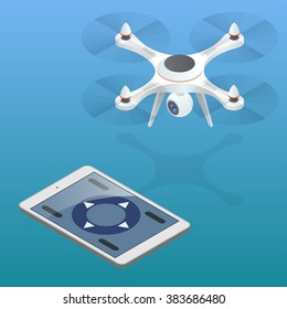 Quadrocopter 3d isometric illustration Drone with action camera icon Drone, controller, fish eye lens, camera holder, professional camera Devices set on background. Isometric style