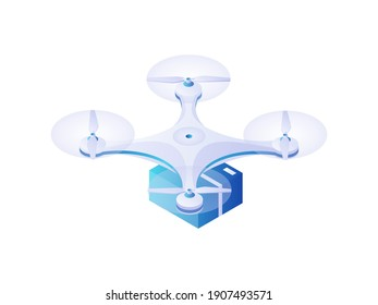 Quadrocopter carrying parcel isometric vector. Modern white drone flies with blue docked box. Delivery fast transport of goods and useful toy photography and observation technology.