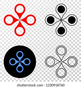 Quadrocopter EPS vector icon with contour, black and colored versions. Illustration style is flat iconic symbol on chess transparent background.