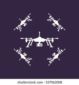 Quadrocopter Icon Vector flat design style