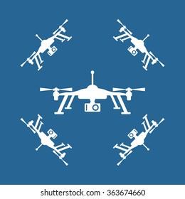 Quadrocopter icon, vector illustration. Flat design style