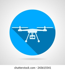 Quadrocopter sign flat vector icon. Blue round vector icon with white silhouette quadrocopter a front view on gray background. Flat design with shadow.