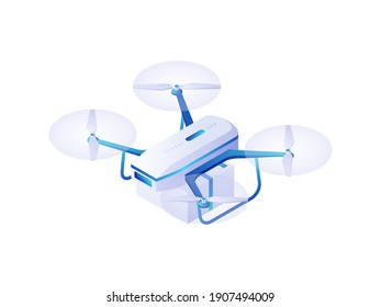 Quadrocopter speed isometric vector. Wireless modern white drone with blue mounts. Fast delivery of goods and useful toy photography and observation. Flying vehicle for military purposes.