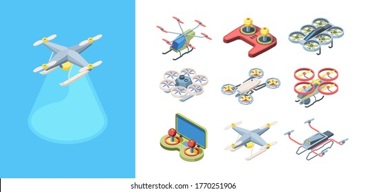 Quadrocopters flying drones set. Robotic modern multicopter devices for cargo delivery filming with control panel stylish futuristic design wireless transport electric batteries. Vector transport.