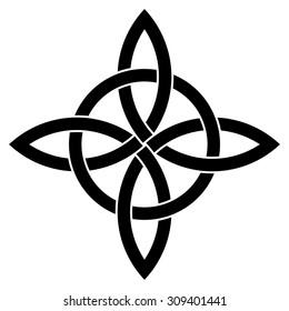 Quadruple knot vector, tattoo design vector, cross knot vector