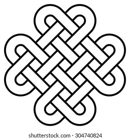 Quadruple Solomon knot icon vector, logo design