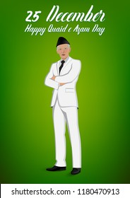 Quaid e Azam Day Nation and World Figure. Person Vector. Quaid e Azam Ali Jinnah. concept a leader in coat pent standing on Light green gradient  background.