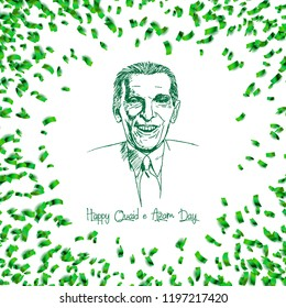 Quaid e Azam Muhammad Ali Jinnah black and white Sketch with confetti of 25th December birthday vector design