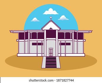 Quaid Muhammad Ali Jinnah residency in Ziarat Baluchistan vector illustration design