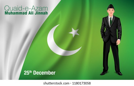 Quaid-e-Azam Muhammad Ali jinnah 25th December (Founder of Pakistan) birthday celebration with English calligraphy in multi background vector of Flag moon and star.