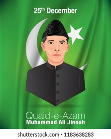Quaid-e-Azam Muhammad Ali jinnah 25th December birthday celebration with English calligraphy in green background vector of Flag moon and star.
