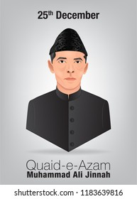 Quaid-e-Azam Muhammad Ali jinnah 25th December birthday celebration with English calligraphy in grey background vector.