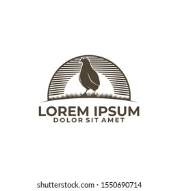 Quail bird emblem or badge logo template isolated in white