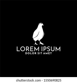 Quail bird emblem or badge logo template isolated in black
