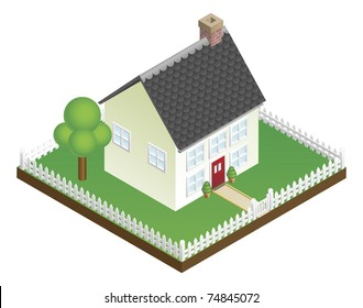 A quaint house with picket fence in isometric view