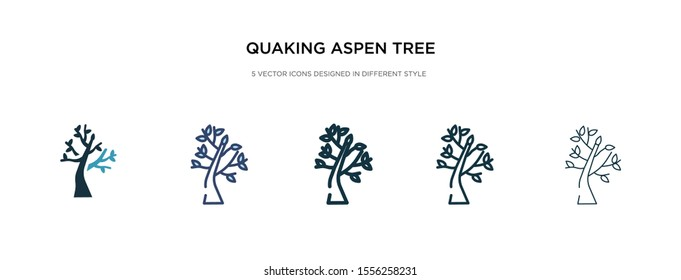 quaking aspen tree icon in different style vector illustration. two colored and black quaking aspen tree vector icons designed in filled, outline, line and stroke style can be used for web, mobile,