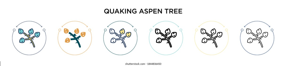 Quaking aspen tree icon in filled, thin line, outline and stroke style. Vector illustration of two colored and black quaking aspen tree vector icons designs can be used for mobile, ui, web