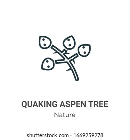 Quaking aspen tree outline vector icon. Thin line black quaking aspen tree icon, flat vector simple element illustration from editable nature concept isolated stroke on white background
