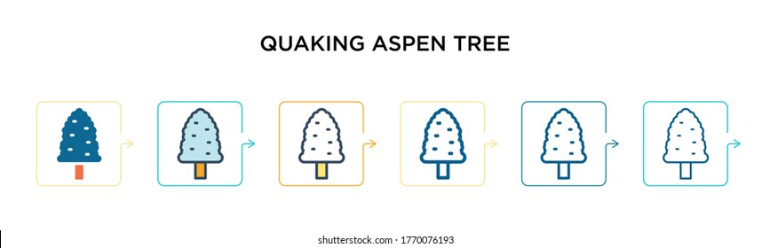 Quaking aspen tree vector icon in 6 different modern styles. Black, two colored quaking aspen tree icons designed in filled, outline, line and stroke style. Vector illustration can be used for web,
