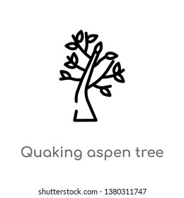 quaking aspen tree vector line icon. Simple element illustration. quaking aspen tree outline icon from nature concept. Can be used for web and mobile