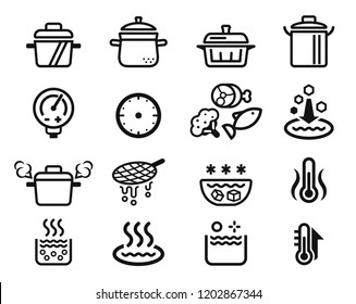 Qualification of boiled or stewed food by kitchenware icon.