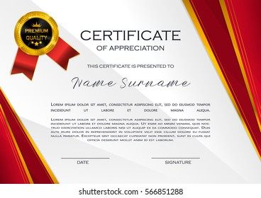 Qualification Certificate of appreciation design. Elegant luxury and modern pattern, best quality award template with red and golden tapes, shapes, badge. Vector illustration.