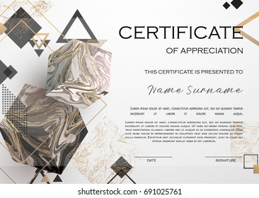 Qualification Certificate of appreciation design. Elegant luxury and modern pattern, best quality award template with white and golden tapes, shapes, marble cubes. Vector illustration