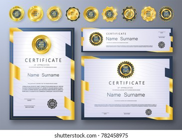 Qualification Certificate of appreciation design. Luxury vip and modern Certificate pattern, best quality award medal template, gold tapes, shapes, set of 6 medals types. Vector illustration. EPS 10.