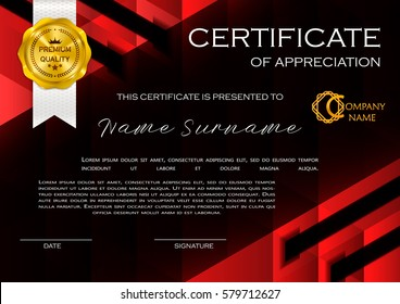 Qualification Certificate of appreciation, geometrical design. Elegant luxury and modern pattern, best quality award template with red and golden tapes, shapes, badge. Vector illustration